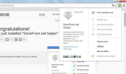 Extensión SaveFrom.net en Chrome