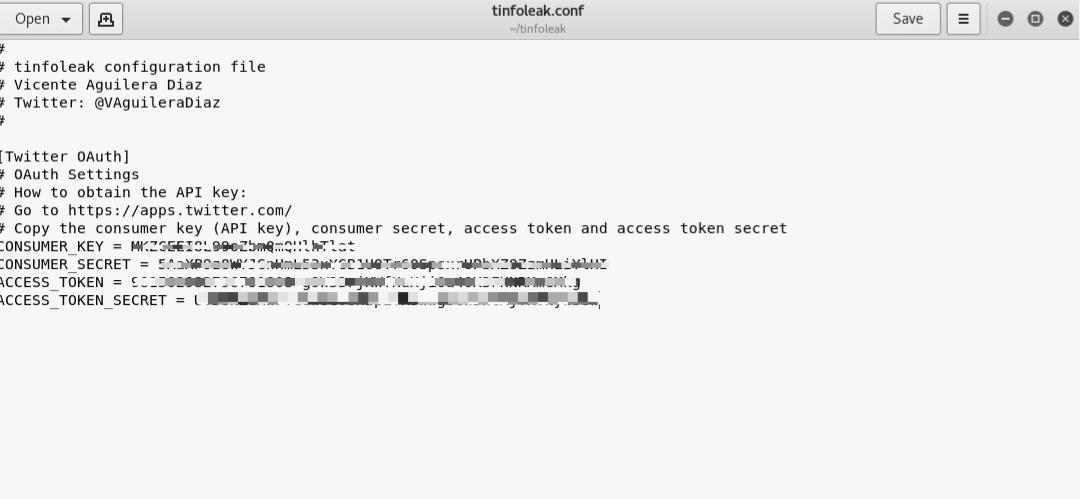Archivo de configuración de Tinfoleak