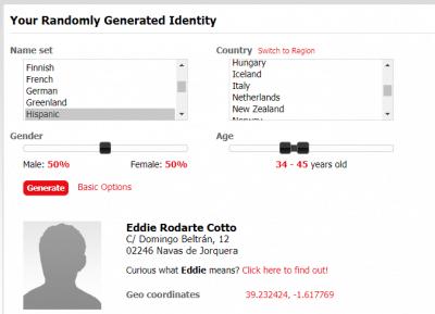 Generador de identidad falsa