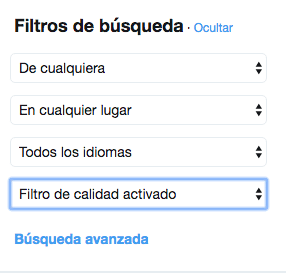 Filtros de búsqueda en Twitter barra izquierda