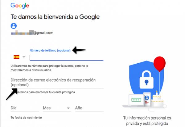 Cómo crear cuenta de email en gmail sin número de teléfono