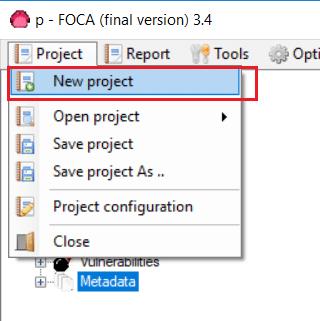 FOCA nuevo proyecto web