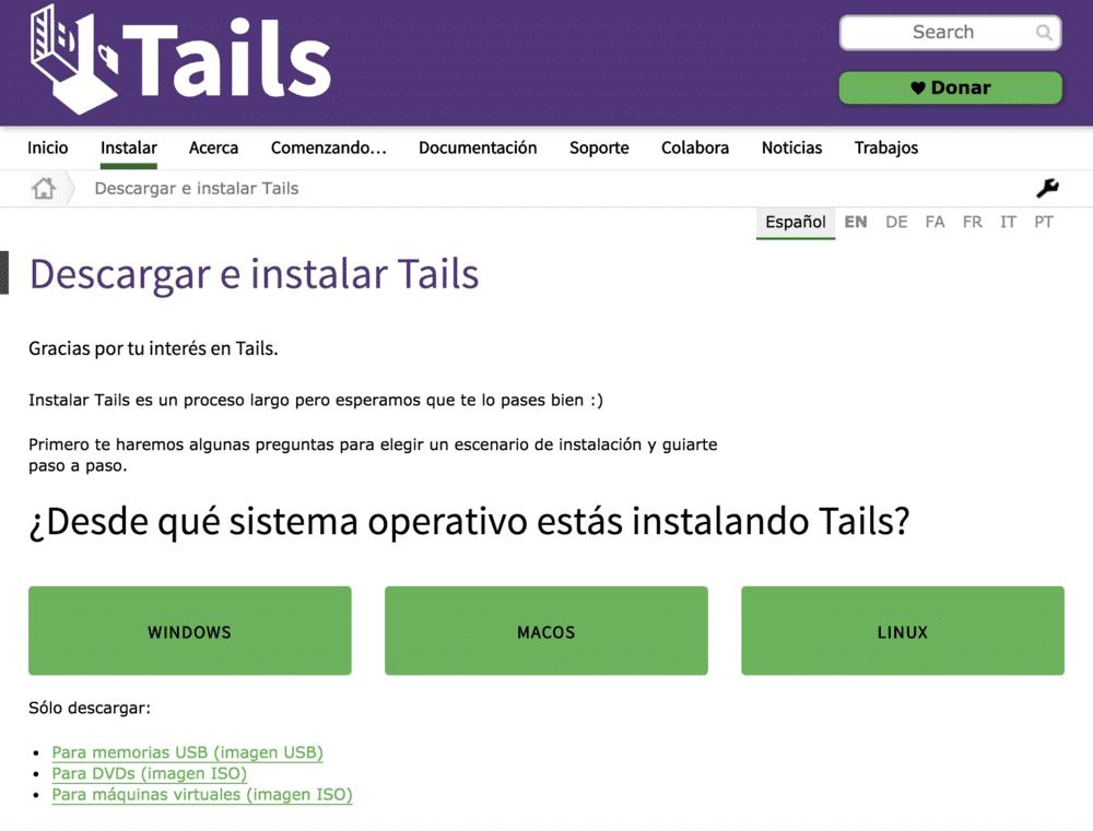 como instalar tails